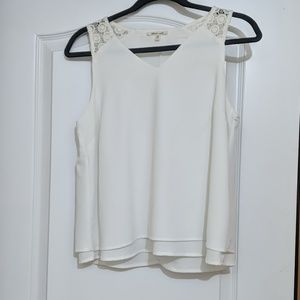 White lace detailed tank top